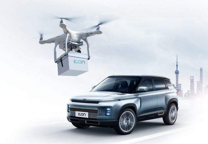 Autofabrikant Geely levert auto's af met behulp van drones in verband met corona.