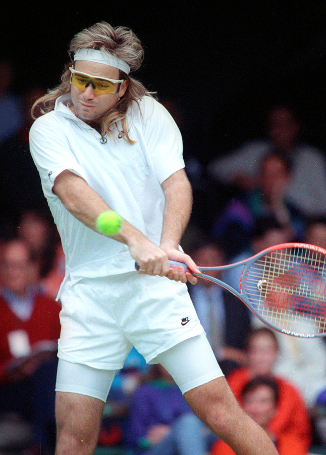Andre Agassi op Wimbledon in 1991