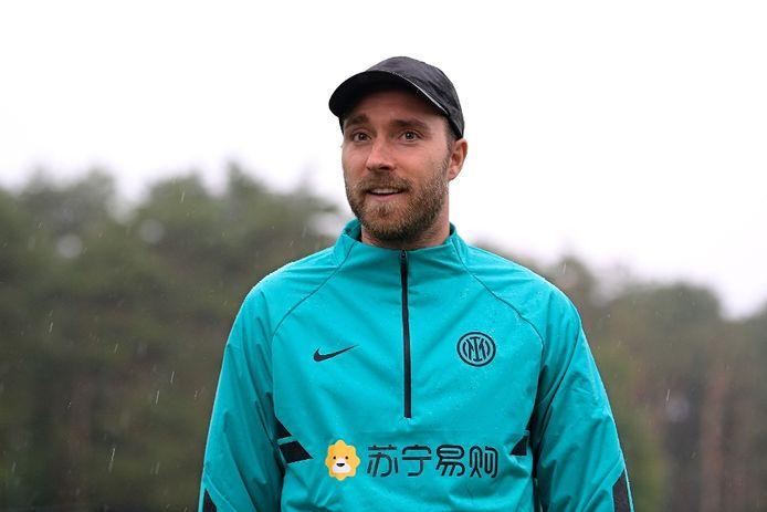 Christian Eriksen, vandaag op het trainingscomplex van Inter.