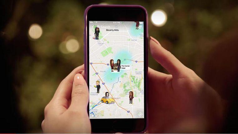 Een voorbeeld van hoe 'Snap Map' er uit ziet in Snapchat. Beeld YouTube
