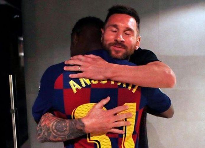 Messi met de 16-jarige debutant Ansu Fati.