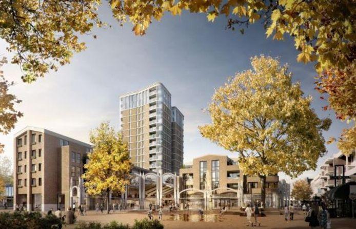 Een impressie van het nieuwbouwplan Walkwartier, met in het midden de entree naar het xxx