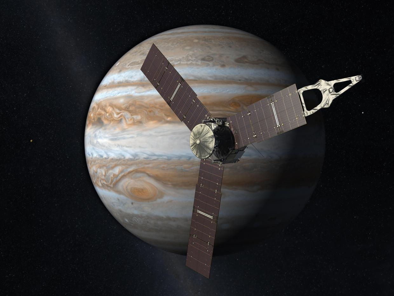 De Jupiterverkenner Juno, met zijn gigantische zonnepanelen. Beeld Nasa