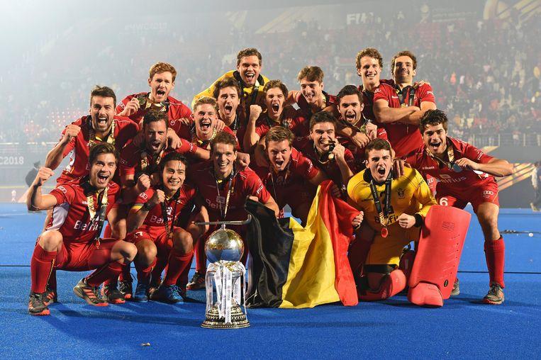De Red Lions vieren hun wereldtitel hockey in Bhubaneshwar, India. Ze versloegen Nederland in de finale. Beeld Photo News