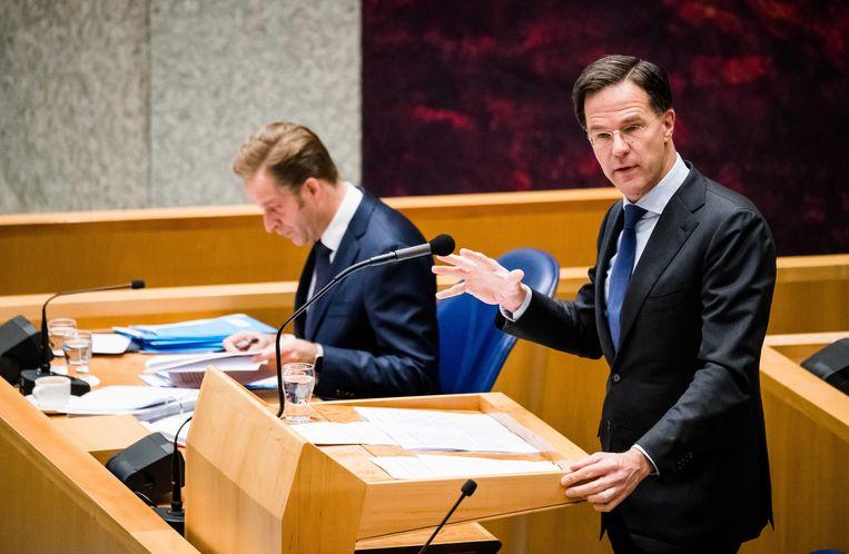 Premier Mark Rutte tijdens het Tweede Kamerdebat over de ontwikkelingen rondom het coronavirus.  Beeld ANP