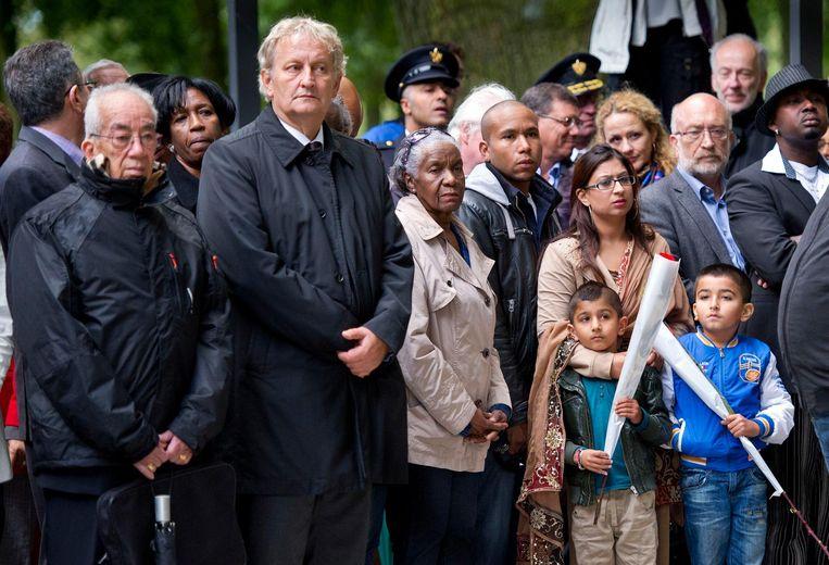 2012: Burgemeester Eberhard van der Laan tijdens de twintigste herdenking van de Bijlmerramp. Beeld ANP