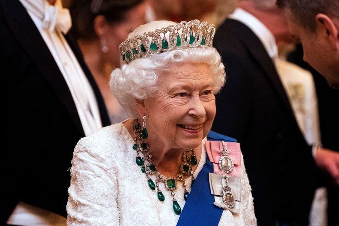 De koningin, vorige week, op een receptie met buitenlandse ambassadeurs.