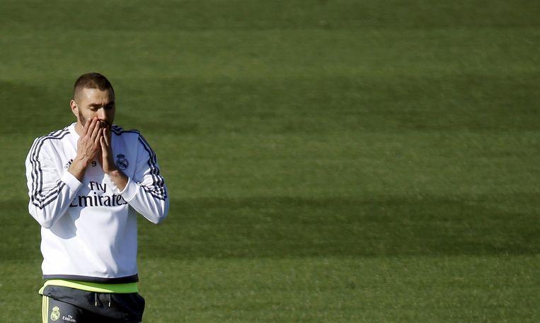 Benzema tijdens een training van Real. Beeld null