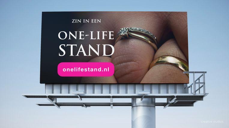 Dit billboardontwerp was lange tijd de populairste. Maar de site die erop staat, verwijst nu naar Gaykrant.nl. Beeld SGP