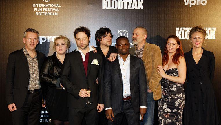 Van Beurden (helemaal rechts) tijdens de opening van het Internationaal Filmfestival Rotterdam. Zij speelde een rol in de openingsfilm 'De wederopstanding van een klootzak'. Beeld anp