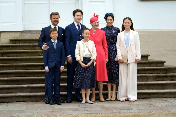 La famille royale danoise lors de la confirmation du prince Christian.