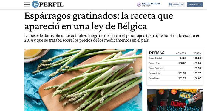 Belgische asperges in de Argentijnse krant Perfil.
