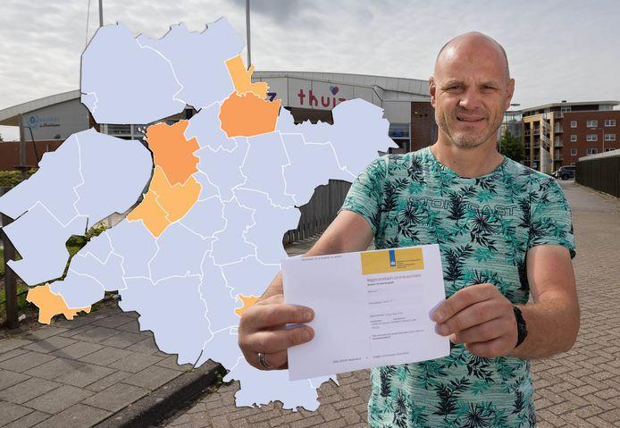 De coronakaart van Oost-Nederland van 13 juni 2021.