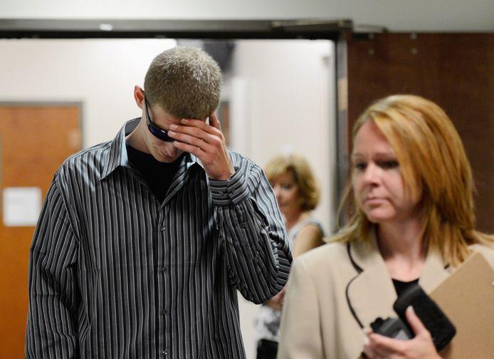 Ian Sullivan, papa van het jongste slachtoffertje Veronica Moser, ging ook naar Arapahoe voor de zitting.