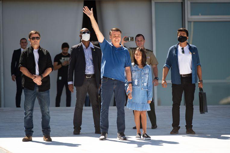 De Braziliaanse president Jair Bolsonaro doet mee aan een protest tegen het Nationale Congres en de Hoge Raad van Brazilië. Beeld Getty Images
