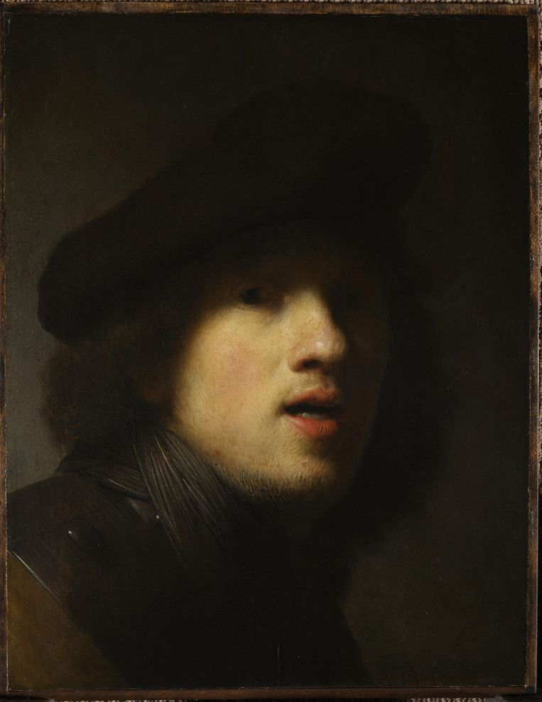 Rembrandt, Portret in de spiegel. Ca 1627-1628. Beeld Indianapolis, Museum of Art / Courtesy of The Clowes Fund