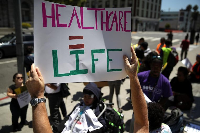 Protest tegen Trumpcare: 'zorgstelsel = leven' Beeld afp