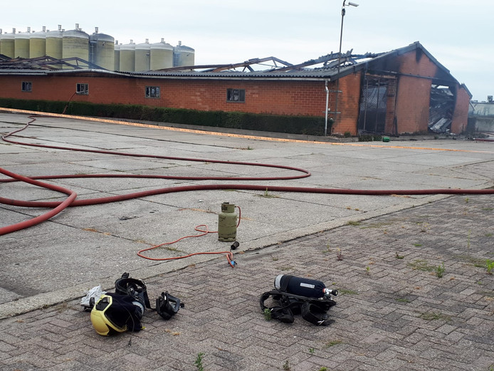 Schade na de brand in Baarle-Nassau.