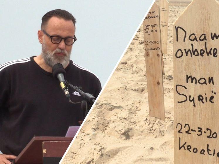 Omgekomen vluchtelingen herdacht op strand Scheveningen