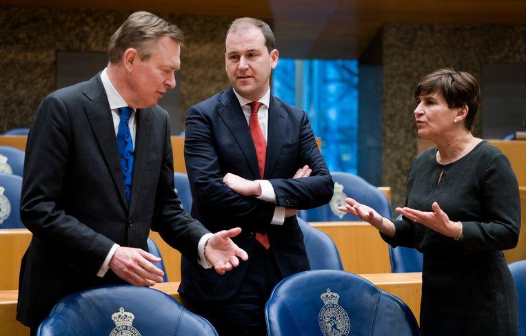 2020: in gesprek met toenmalig minister Bruno Bruins (VVD) voor Medische Zorg en Lodewijk Asscher, dan nog fractievoorzitter, over de beginnende coronacrisis. Beeld Freek van den Bergh / de Volkskrant