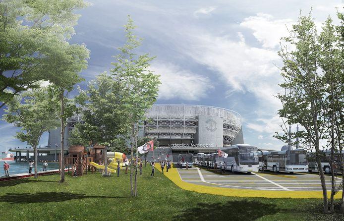 De bushalte in het Mallegatpark met het nieuwe stadion