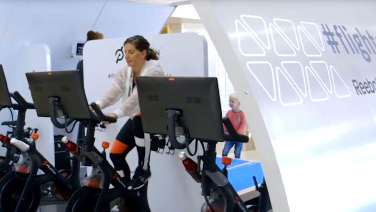 Een fitnesszaal aan boord van het vliegtuig? Airbus experimenteert met verschillende modules of kamers. Beeld Airbus