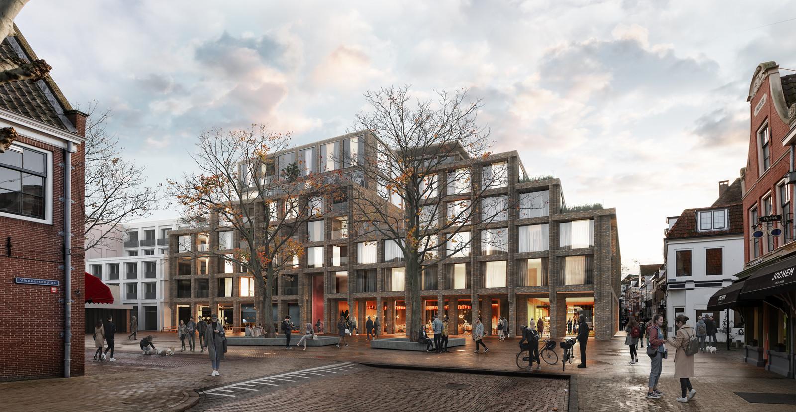 Impressies van Het Handelshuys in Zwolle, de nieuwbouw die op de plek van de vroegere V&D en Hudson's Bay komt. In de plint komen 'weinig winkels' want daar is wat minder behoefte aan, zegt de projectontwikkelaar.