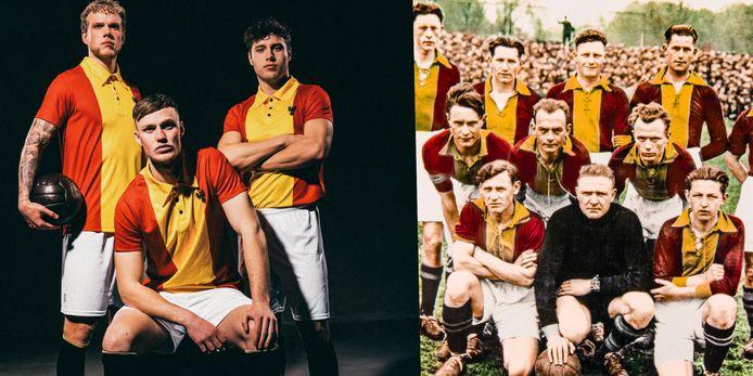 Zoek de verschillen: links het retroshirt van Go Ahead in 2021, rechts het team uit 1932.