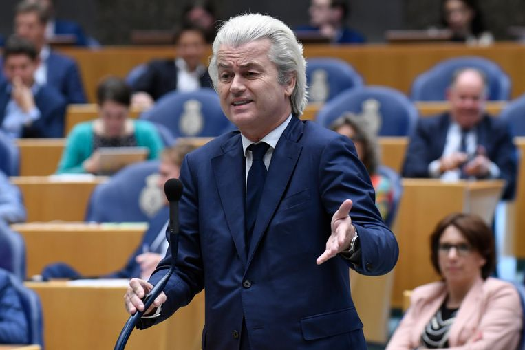 Den Haag - 25 april 2018. Fractievoorzitter van de PVV, Geert Wilders, tijdens het debat over de dividendbelasting Beeld Hollandse Hoogte / Peter Hilz