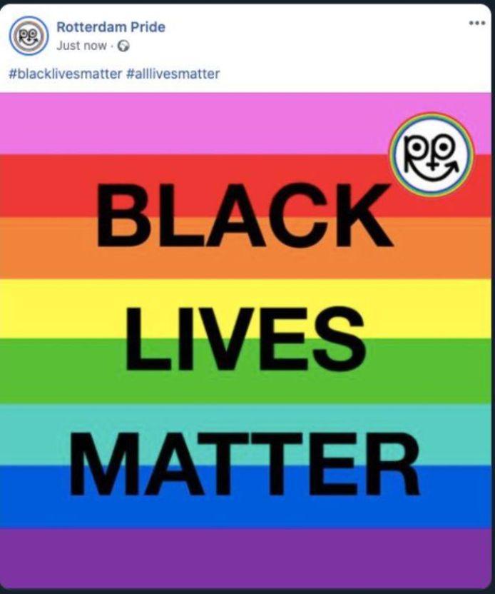 De bewuste post op Facebook van Rotterdam Pride, de organisatie die opkomt voor de queer-gemeenschap in Rotterdam.