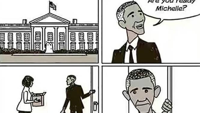 Briljante cartoon vat leegte die Obama achterlaat bij veel Amerikanen perfect samen
