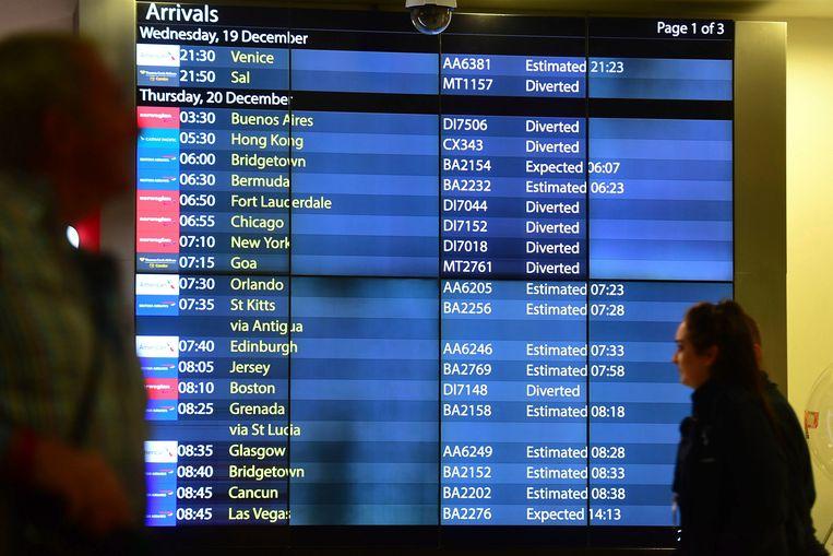 Veel vluchten worden omgeleid naar een andere luchthaven. Beeld AP