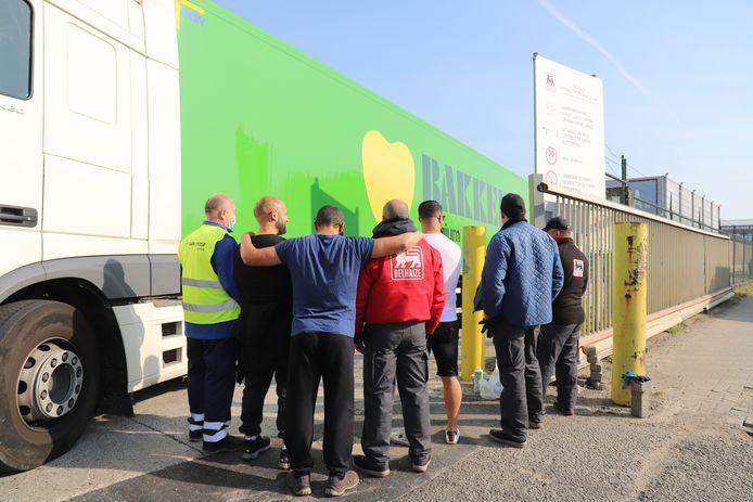 Asse: Staking in het distributiecentrum van Delhaize in de Broekooi.