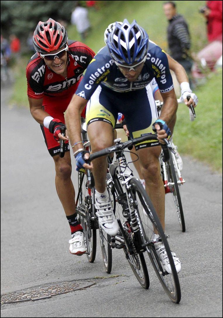 In de finale moest Van Avermaet op de twee klimmetjes alle zeilen bijzetten om Marcato te volgen. Beeld PHOTO_NEWS