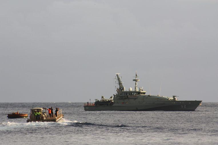 Asielzoekers komen aan op Christmas Island. Beeld epa