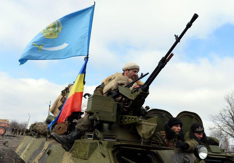 Pro-Russische rebellen in de Oost-Oekraïense stad Debaltseve in 2015. Beeld AFP