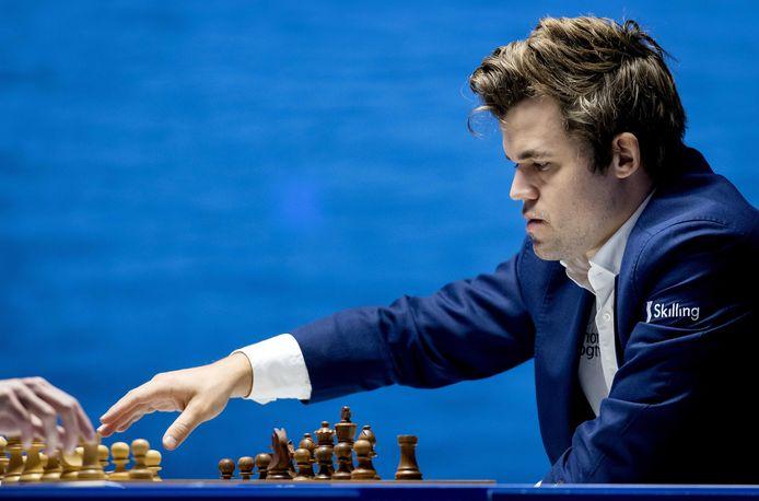 Wereldkampioen Magnus Carlsen tijdens het Tata Steel-schaaktoernooi dat eind vorige maand in Wijk aan Zee werd gehouden.