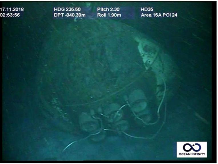 Het wrak van de ARA San Juan onderzeeër op de bodem van de Atlantische Oceaan. Beeld AFP