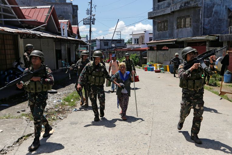De oorlogszone in Marawi. Beeld REUTERS