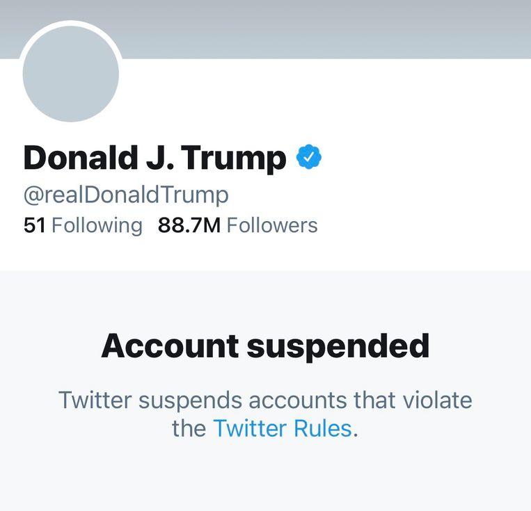 Twitter heeft het account van Trump permanent op zwart gezet. Beeld RV