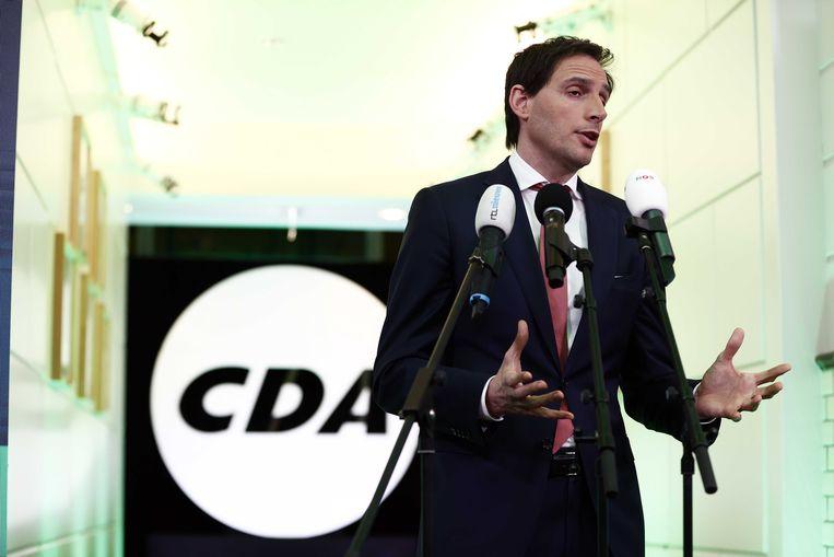 CDA-lijsttrekker Wopke Hoekstra reageert in het partijbureau op de uitslagen voor de Tweede Kamerverkiezingen.  Beeld ANP
