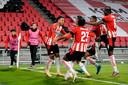PSV viert de 3-2 van Donyell Malen.