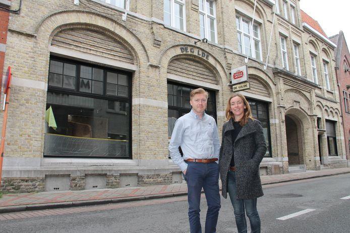 Niek Marijsse en partner Veerle Callens voor brasserie De Gilde, die in juni opent.