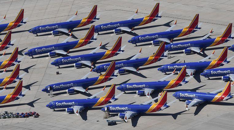 Southwest Airlines Boeing 737 MAX-vliegtuigen die gedwongen aan de grond staan. Beeld AFP
