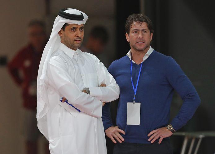 Maxwell met PSG-voorzitter Nasser Al-Khelaifi.