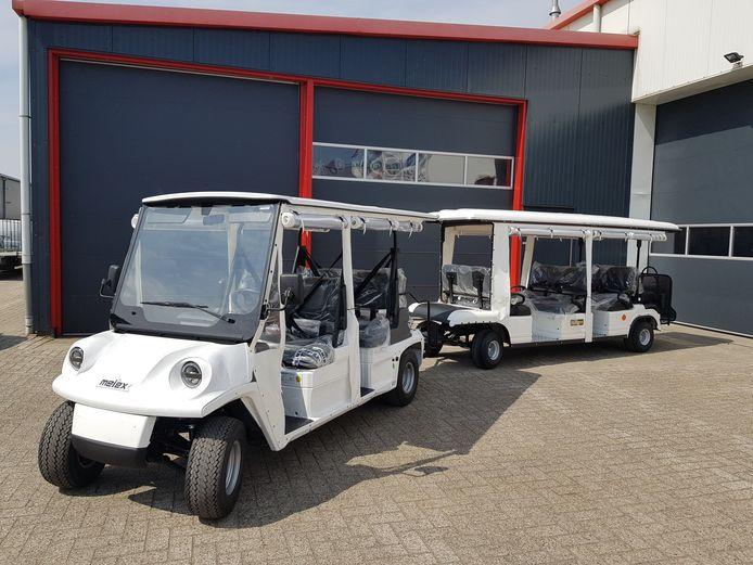 Het elektrische treintje waarmee de stichting gaat rijden over Voorne.