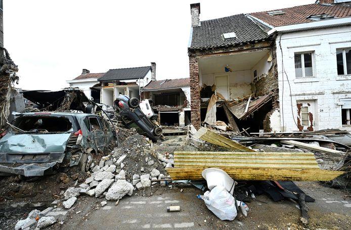 Des maisons pratiquement détruites par les inondations à Pepinster.