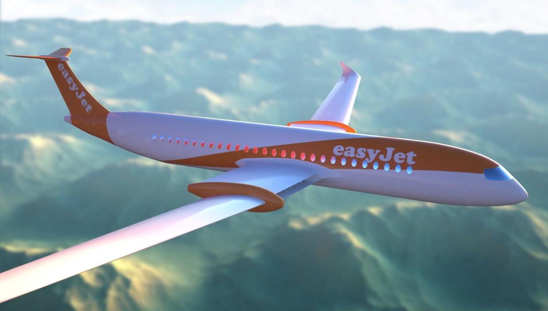 Een schets van het elektrische vliegtuig voor 120 passagiers van easyJet en Wright Electric dat in 2027 in dienst moet komen.