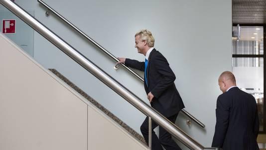 PVV-leider Geert Wilders afgelopen woensdag in het Tweede Kamergebouw