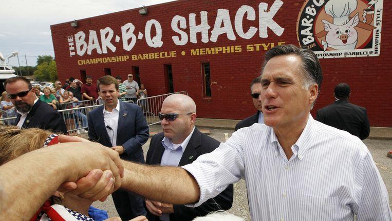De Republikeinse presidentskandidaat Mitt Romney afgelopen weekend in Evansville. Beeld ap
